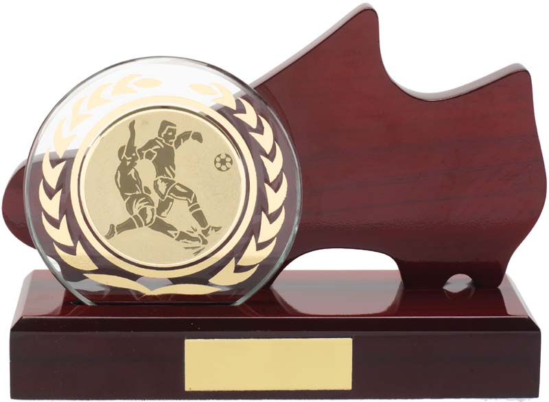WOOD GLASS SOCCER BOOT TROPHY W 1