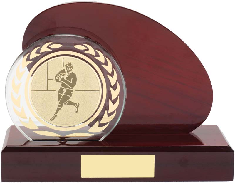 WOOD GLASS RUGBY BALL TROPHY W 1